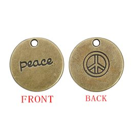 Wholesale silver peace signs - 19mm Round Antique Bronze Plated Peace Pendant Charms Double Sided With Peace And Peace Sign Stamped AAC181