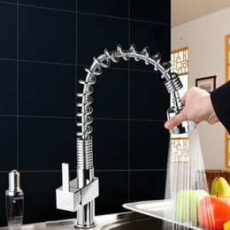 Wholesale Pre Mixer - Single Handle Pull Down Kitchen Sink Faucet Commercial Style Pre-rinse in Brass Wet Sink Bar Faucets Mixer Tap