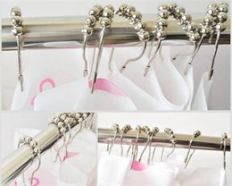 Wholesale Metal Shower Curtain Hooks Wholesale - 12pcs set 2016 Shower Curtain Hooks Stainless Steel, Polished Chrome ring A017