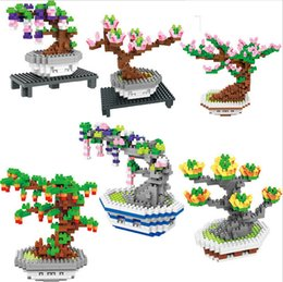 Wholesale plastic cherry blossoms - BOB blocks new design 6 Models flowers Mini Potted plants Blocks set For Children cherry blossoms Building Kits rose Creator Block 9557-9562