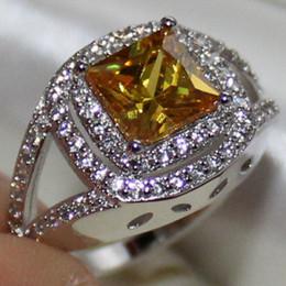 Wholesale Yellow Topaz Rings Women - Size 6 7 8 9 10 Dazzling Women Silver Eternity Square Yellow Topaz CZ Pave Set Ring