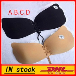 Wholesale C Dresses - New Women Silicone bra cups backless dress butterfly Invisible Push Up Stick On Self Adhesive Front fly Bra Strapless A B C D