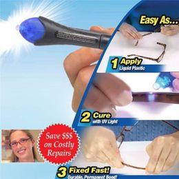 Wholesale Fix Pens - 120Pcs Retail Packaging 5 Second Fix Liquid Plastic Welding Pen UV Light Repair Cure Tool AU Liquid Glass Welding Glue F744