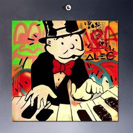 Wholesale Dj Panel - Framed PLAY Piano dj,High Quality genuine Hand Painted For Wall Decor Alec monopoly Graffiti Pop Art Oil Painting Quality Canvas Multi Sizes