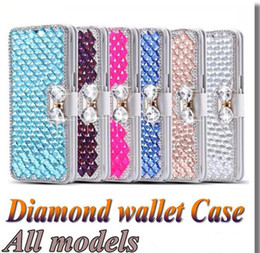 Wholesale Luxury Cell Phone Cases Diamonds - Luxury Diamond Cell Phone Case Galaxy S7 Edge Flip Cover Stand flip cover case for Iphone 6s plus S7