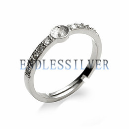 Wholesale jewellery wholesale findings - Simple Ring Settings Zircon Band Rings 925 Sterling Silver DIY Jewellery Finding Mountings for Pearl Party