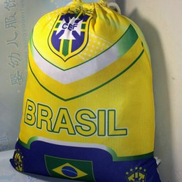 Wholesale String Gym Bags - Football backpack Soccer country team drawstring bag Training stuff sacks Fans exercise cinch Outdoor string case Sport day pack