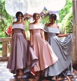 Wholesale Sweetheart Wedding Silk Column Gown - Custom Made HI-Lo offShoulder Bridesmaid Dresses Elastic Silk Like Satin High Quality Evening Dress Wedding Party Gowns Cheap