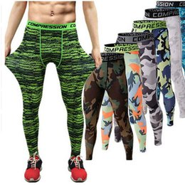 Wholesale Men Tight Leggings - 2016 Men compression pants sports running tights basketball gym pants bodybuilding mans joggers army green skinny leggings