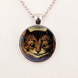 Wholesale Cheshire Cat Necklaces - Wholesale Alice in Wonderland Necklace Cheshire Cat Necklace Fairytale Jewelry Girls Glass Cabochon Necklace