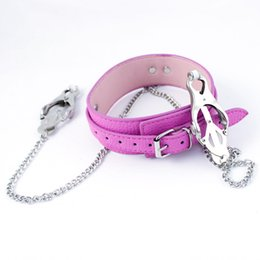 Wholesale Bdsm Nipple Collar - PU Leather Collar with Nipple Clamps Bondage Collar CBT Toys Fetish Slave Collar Bondage Restraints Bondage Gear Adult Sex Toys BDSM Toys