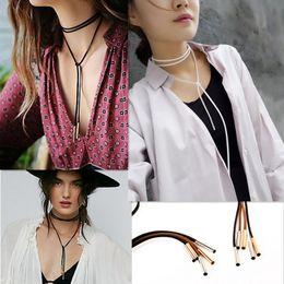 Wholesale Necklace Strands Black - Fashion Vintage Long Black Velvet Choker Necklace Women Rope Leather Chain Tube Necklaces Pendants Burlesque Cosplay Jewelry