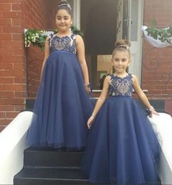 Wholesale Girls Navy Dresses Children - Navy Blue Arabic 2016 Lace A-line Flower Girl Dresses Vintage Tulle Child Pageant Dresses Beautiful Flower Girl Wedding Dresses F061