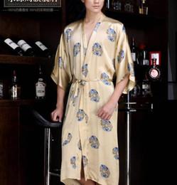 Wholesale Spa Dressing Gown - Wholesale-2016 hot Pure Silk satin sleepwear male 100% natural silk robes for men spa bathrobes bath gown dressing gown for men kimono