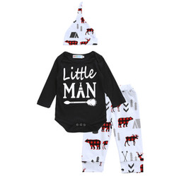 Wholesale Bear Arrows - Baby little man printing outfits 3pc sets twisted hat+black arrow printing romper+pants bears elk printing infants Xmas clothing for 0-2T