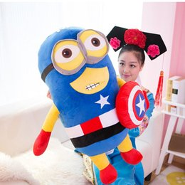 Wholesale Superman Bear Teddy - Despicable me 2 small yellow Man Doll Superman hero Captain America stereo plush toys eyes danced
