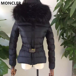 Wholesale Ribbed Belts - M43 Brand women Down jacket thickening 100% real thick fox fur collar hood down coat with Belt Duck Down Parkas