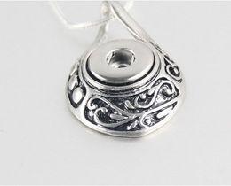 Wholesale Antique Pendants Fit Necklace - Newest Noosa Antique Silver Ginger Snap Button Pendant Fit 12mm Snap Button Interchangeable Charms Jewelry For Women