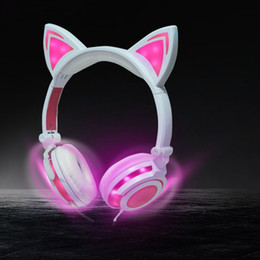 Wholesale Cat Ear Phones - new Cat Ear Headphones Wired On-ear Foldable LED Gaming Flashing Lights USB Charger Earphone Headset for Children, Compatible with IOS Phone