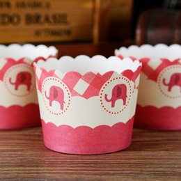 Wholesale Cheap Cupcakes Boxes - Little elephant cupcake case, muffin paper cups tin liners, cheap cupcakes boxes holder supplies