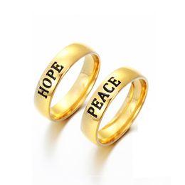 Wholesale Ring Hope - Wholesale Never Fade Engraved Titanium Stainless Steel Prayer Hope Letter Rings 18K Gold plated Name Rings For Friendship Gift