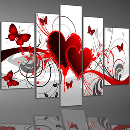 Wholesale Hand Painted Love - Hand Painted Oil Painting Gift Red Love Butterfly 5 Panels Wood Inside Framed Hanging Wall Decoration