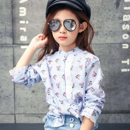 Wholesale Spring Blouse Flower - Girls Tops Blouses Children Clothes Kids Clothing 2016 Autumn Lace Long Sleeve T Shirts Child Shirt Flower Shirts Girl Dress Lovekiss C27834