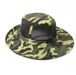 Wholesale Polyester 65 Cotton 35 - US Army camouflage HATS Round-brimmed Sun Bonnet James Super Light Sniper fishing Hat 65% polyester 35% cotton free shipping