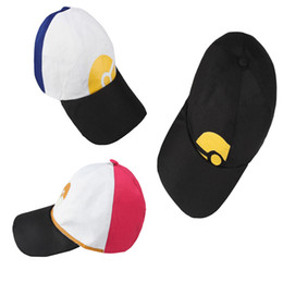 Wholesale Japanese Unisex Cap Hat - Cartoon Comic Pocket Monster Pikachu Flat Snapback Caps Hat Cosplay Costume Accessories Hat Gift Red Daily Life Unisex Hanlloween