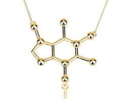 Wholesale Chemistry Wholesale - 1pc-n137 Latest New Caffeine Molecule Necklace Structure Necklace Elegant Long Chain Chemistry Women Girls Necklace