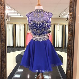 Wholesale Short Bling Homecoming Dresses - Royal Blue Bling Beading Crystals Homecoming Dresses 2018 A Line High Neck Sexy Backless Short Chiffon Juniors Prom Party Graduation Gowns