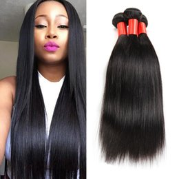 Wholesale Hair Extensions Sale Free Shipping - Super Sale!!!Mix 4pcs 10-30inches Brazilian straight virgin Human Hair Weft Extension Natural Color virgin Hair Weave Free Shipping
