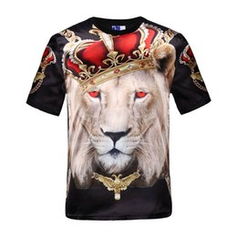 Wholesale Lions Shirt Xl - Mikeal Hot sell men's short sleeve glossy rayon 3d t-shirt print red eyes crown lion Stage Performance T-Shirt summer Tops tees