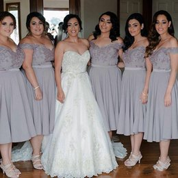 Wholesale Chiffon Party Dresses Grey - 2018 New Fashion Off Shoulder Grey Bridesmaid Dresses A Line Tea Length Beaded Bridesmaids Girl's Dress Plus Size Formal Party Gowns