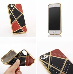 Wholesale Iphone Luxury Leather Chrome Case - For Iphone 7 Plus I7 Iphone7 Bling Diamond PU Leather Grain Soft TPU Case Deluxe Plating Chrome Electroplated Luxury Checkered Cover 10pcs