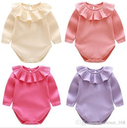 Wholesale Pet Screw - 4 color INS new arrivals baby kids climbing romper long sleeve ruffler pet pan collar screw thread multi color romper baby fall rompers