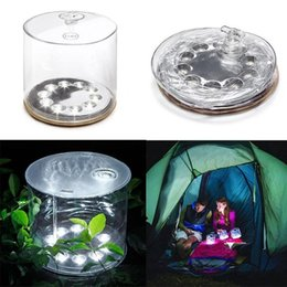 Wholesale Led Garden Lantern Lights - 10 Leds Inflatable Solar powered lamp outdoor waterproof for Garden Camping Emergency LED Lantern night light
