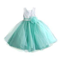 Wholesale Teenage Princess Style Dresses - 2016 Teenage Girl Dress Little Bridesmaid Wedding Gown Flower Princess Tutu Dress Girls Clothing Kids Ceremonies Party Vestidos