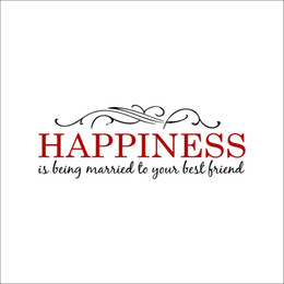 Wholesale Headboard Designs - Happiness is being Married to your best Friend Wall Quote Decals Headboard Decoration Art Metal Scroll Pattern Wall Stickers Home Decoration