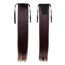 Wholesale Natural Hair Ponytail Piece - 1PC Straight Ponytail Hair Extensions 22inch 55cm 100g Ponytails Pony Tail #4 Dark Brown Long Straight Synthetic Tail Natural Hair Pieces