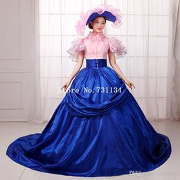 Wholesale New Century - New Arrival Blue And Pink Southern Belle Civil War Dresses 18th Century Medieval Dresses Rococo Renassiance Costume Party Gowns