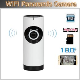 Wholesale Lens Webcam Wifi - Panoramic CameraWireless Fish Eye Lens WIFI IP Camera 180 Degree Wide Angle WiFi IP Webcam P2P Support TF card record