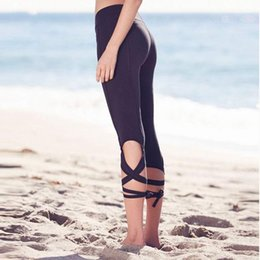 Wholesale Polyester Spandex Yoga Pants - Wholesale-Sexy Sport Pants For Women Spandex Yoga Ballet Leggings Movimiento Pantalones Fitness Running Trousers sport tights P089