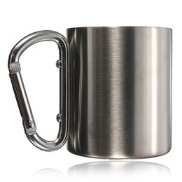 Wholesale Steel Carabiner Hook - Wholesale-Hot Sale 220ml double wall travel mug cup Aluminium carabiner stainless steel hook isolating handle outdoor camp travel cup