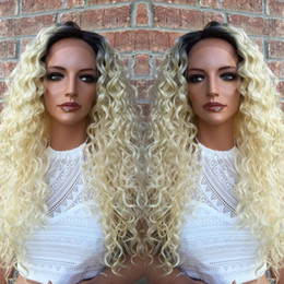 Wholesale Blond Human Hair Lace Wigs - Blond human hair wigs 7A grade #613 kinky curly indian remy full lace front wigs 100% human hair wigs with baby hair