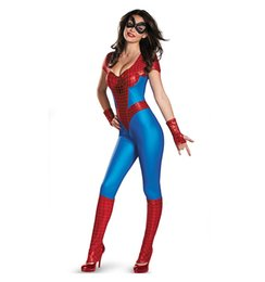 Wholesale Sexy Super Man Cosplay - New Adult Womens Sexy Halloween Party Spider-man Costumes Outfit Fancy Cosplay Jumpsuit Size M With Mask