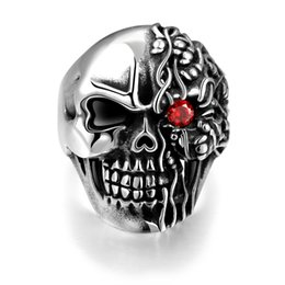 Wholesale Skull Punk Ring Black - Silver Gun Black Inlaid Cubic Zircon Skull Head Stainless Steel Ring For Men Red Eyes Punk Finger Band Jewelry Size 8,9,10,11 Men's Ring
