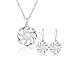 Wholesale Bridal Jewelry Sets 925 - Sterling Silver Bridal Jewelry Set with Cultured Freshwater Pearls, Floral Elegant Silver Jewelry Sets for Women Wholesale- SE00224