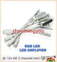 Wholesale Led Controller Connector - YON 100pcs lot dc 12v 6A 3 channel mini rgb led signal amplifier controller with female dc connector for led rgb strip smd 3528 5050