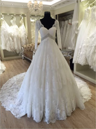 Wholesale Tailored Dresses Designs - Tailored Make Long Sleeves V Neck Lace A Line Floor Length Custom Made Formal Bridal Gowns Designs NW006 Wedding Dresses China